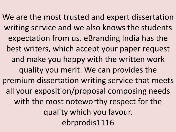 We are the most trusted and expert dissertation writing service and we also knows the students expec...