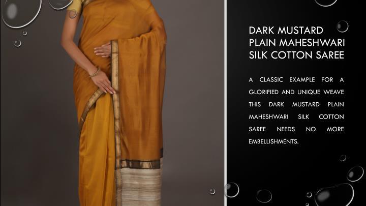 Dark Mustard Plain Maheshwari silk cotton saree