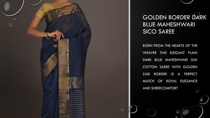 Golden Border Dark Blue Maheshwari Sico Saree
