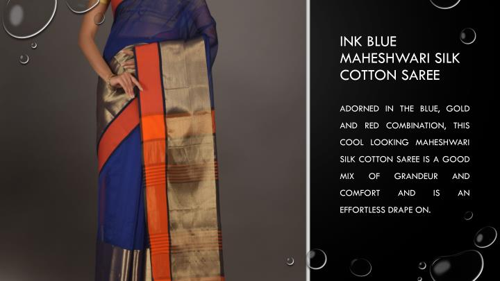 Ink blue Maheshwari silk cotton saree