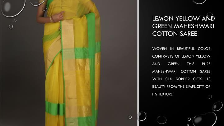 Lemon Yellow and green Maheshwari cotton saree