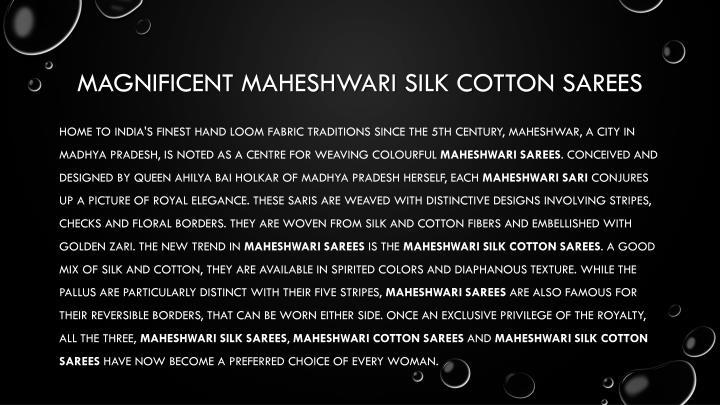 Magnificent Maheshwari silk cotton sarees