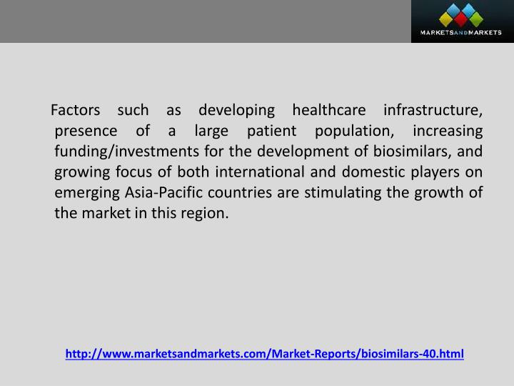 Factors such as developing healthcare infrastructure, presence of a large patient population, increasing funding/investments for the development of