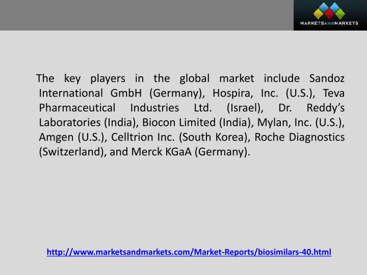 The key players in the global market include Sandoz International GmbH (Germany),