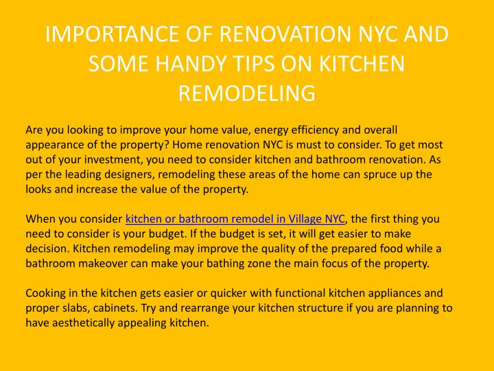 IMPORTANCE OF RENOVATION NYC AND SOME HANDY TIPS ON KITCHEN REMODELING