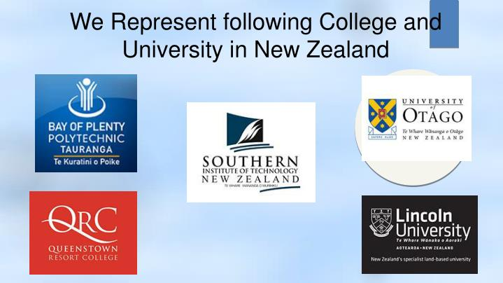 We Represent following College and University in New Zealand