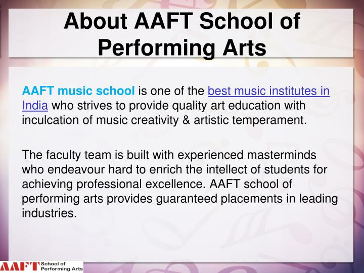 About AAFT School of Performing Arts