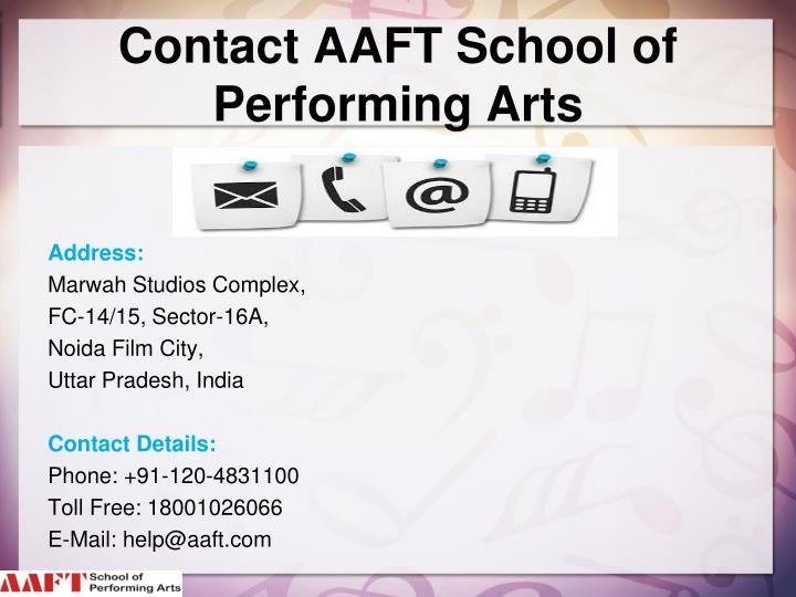 Contact AAFT School of Performing Arts