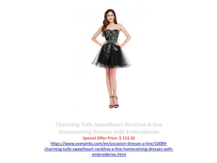 Charming Tulle Sweetheart Neckline A-line Homecoming Dresses with Embroideries