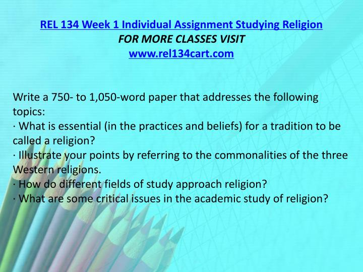 REL 134 Week 1 Individual Assignment Studying Religion
