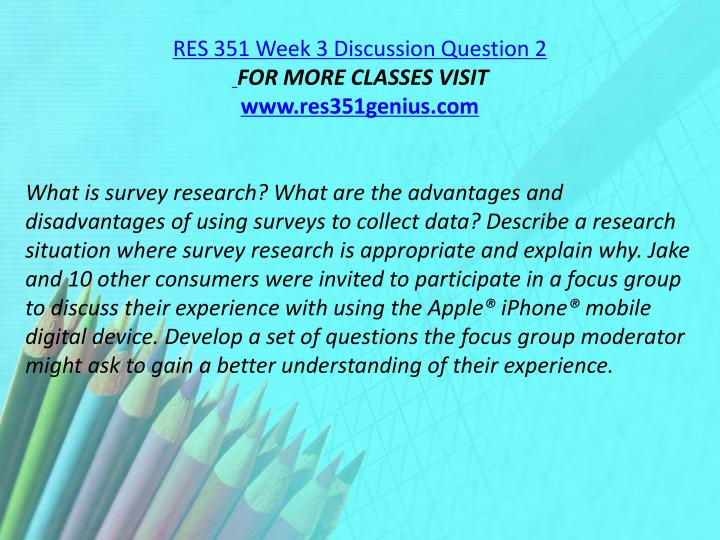 RES 351 Week 3 Discussion Question 2