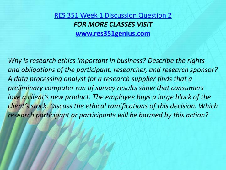 RES 351 Week 1 Discussion Question 2