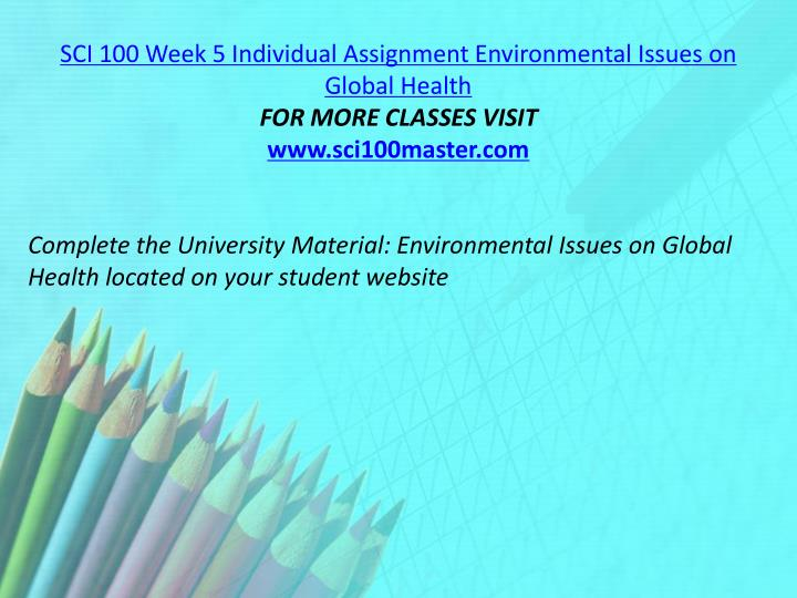 SCI 100 Week 5 Individual Assignment Environmental Issues on Global Health