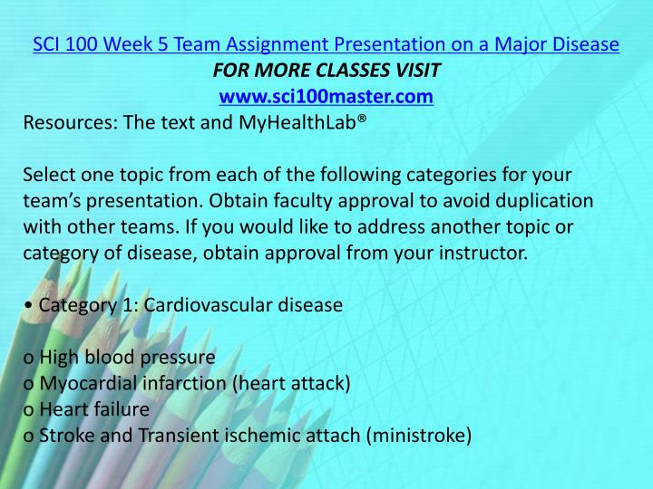 SCI 100 Week 5 Team Assignment Presentation on a Major Disease