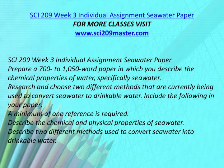 SCI 209 Week 3 Individual Assignment Seawater Paper