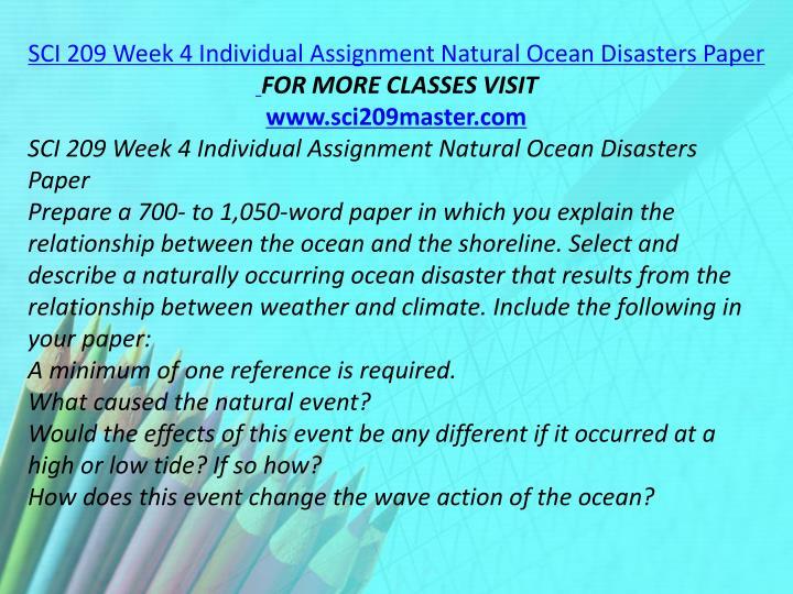 SCI 209 Week 4 Individual Assignment Natural Ocean Disasters Paper