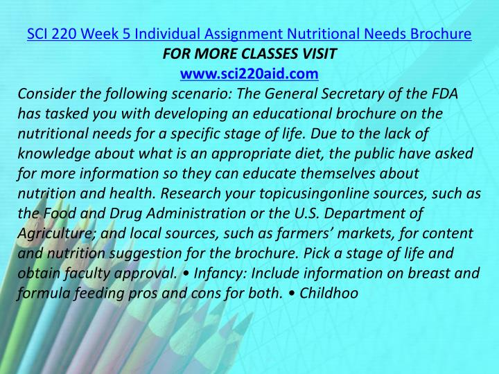SCI 220 Week 5 Individual Assignment Nutritional Needs Brochure