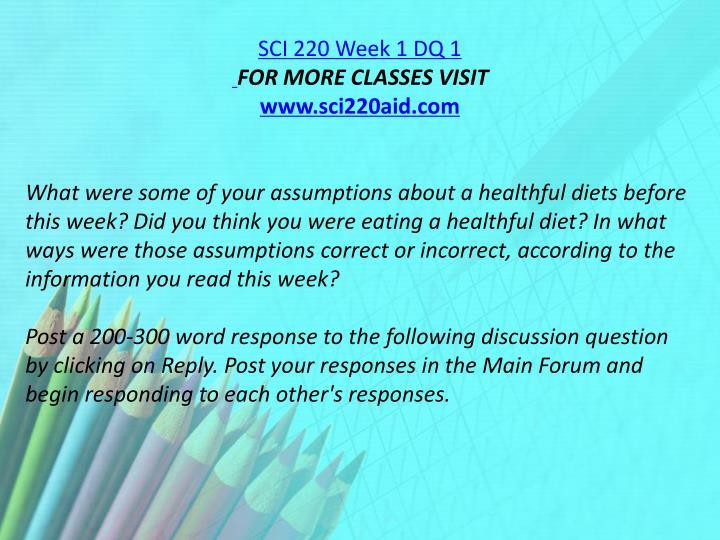 SCI 220 Week 1 DQ 1