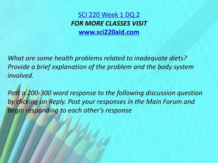 SCI 220 Week 1 DQ 2