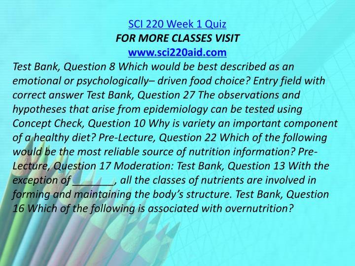 SCI 220 Week 1 Quiz