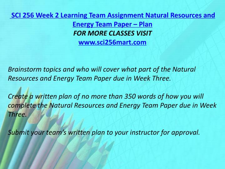 SCI 256 Week 2 Learning Team Assignment Natural Resources and Energy Team Paper – Plan