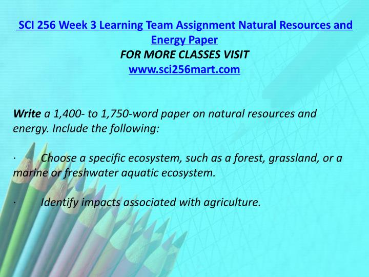 SCI 256 Week 3 Learning Team Assignment Natural Resources and Energy Paper