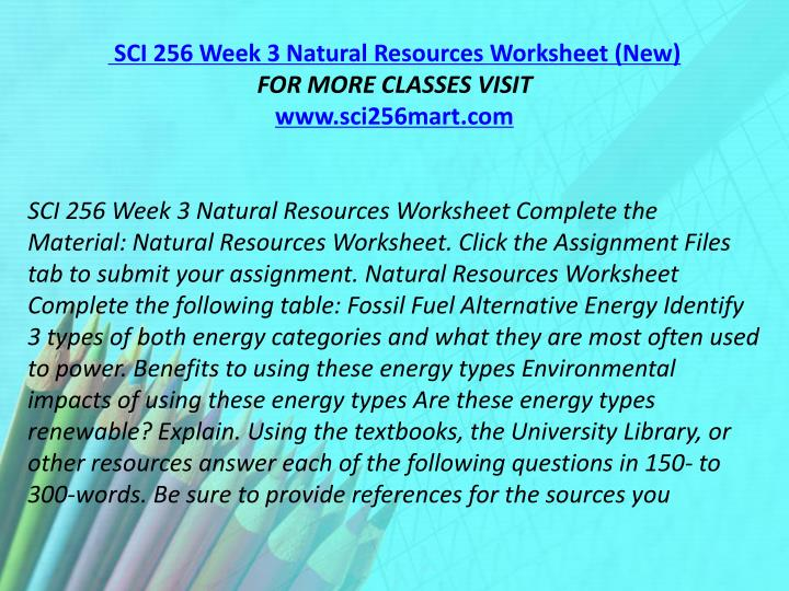 SCI 256 Week 3 Natural Resources Worksheet (New)