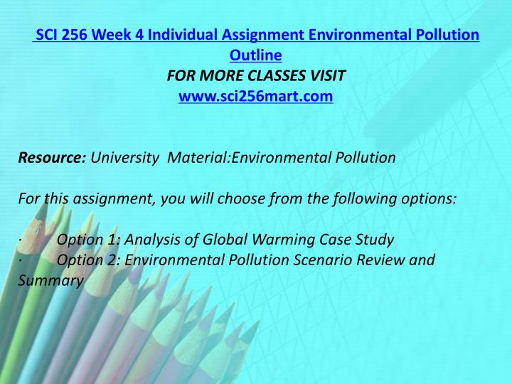 SCI 256 Week 4 Individual Assignment Environmental Pollution Outline