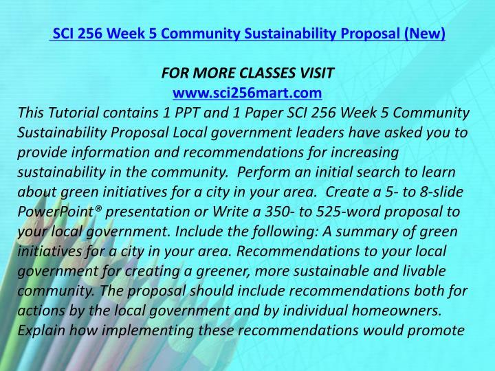 SCI 256 Week 5 Community Sustainability Proposal (New)