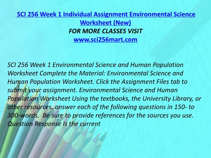 SCI 256 Week 1 Individual Assignment Environmental Science Worksheet (New)