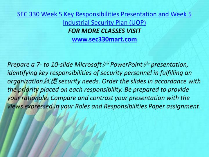 SEC 330 Week 5 Key Responsibilities Presentation and Week 5 Industrial Security Plan (UOP)