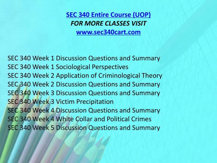 SEC 340 Entire Course (UOP)