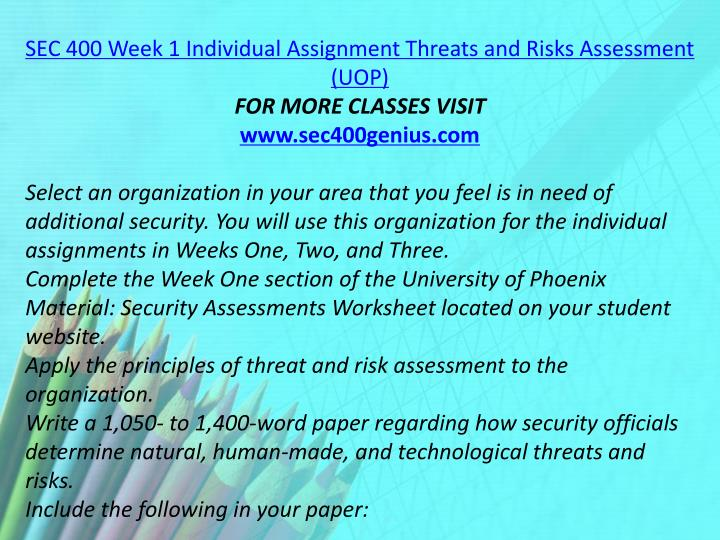 SEC 400 Week 1 Individual Assignment Threats and Risks Assessment (UOP)