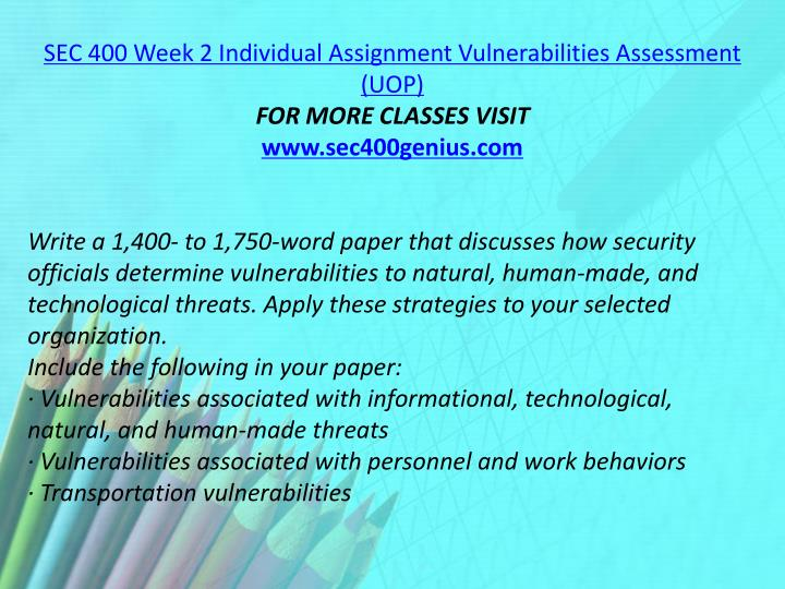 SEC 400 Week 2 Individual Assignment Vulnerabilities Assessment (UOP)
