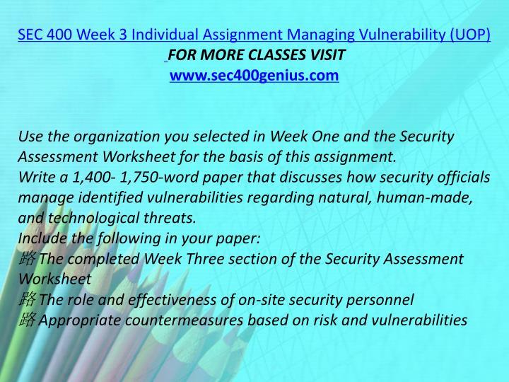 SEC 400 Week 3 Individual Assignment Managing Vulnerability (UOP)