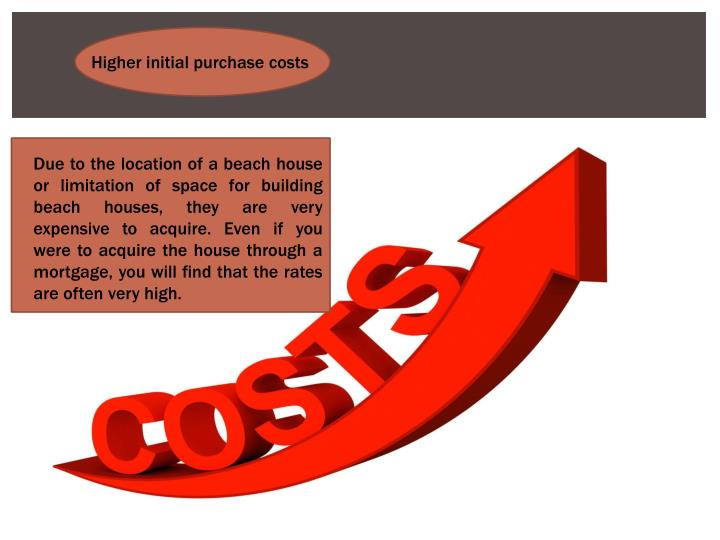 Higher initial purchase costs