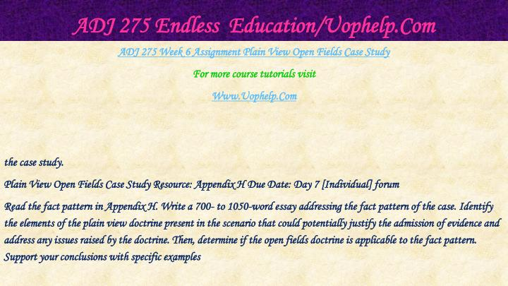 ADJ 275 Endless  Education/Uophelp.Com
