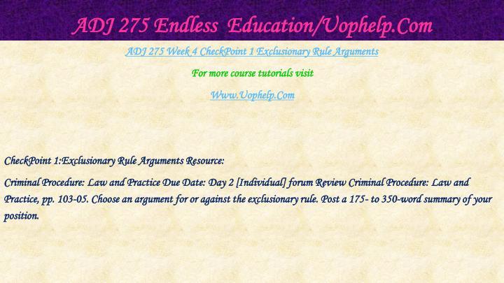 ADJ 275 Endless  Education/Uophelp.Com