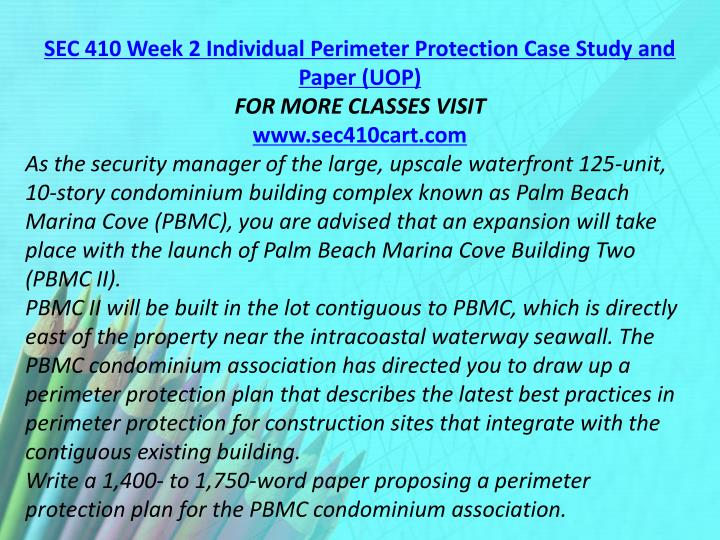SEC 410 Week 2 Individual Perimeter Protection Case Study and Paper (UOP)