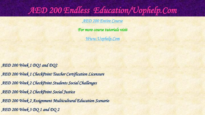 Aed 200 endless education uophelp com1