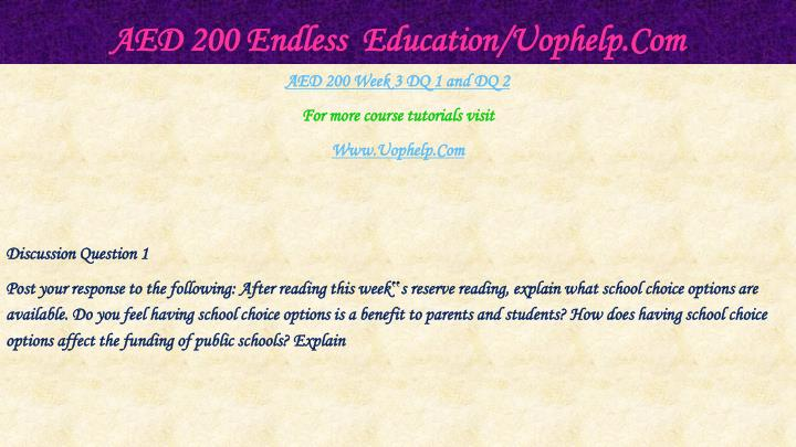 AED 200 Endless  Education/Uophelp.Com