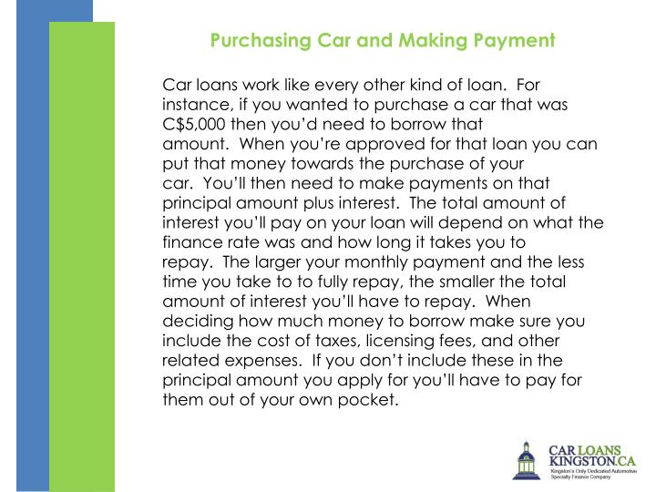 Purchasing Car and Making Payment