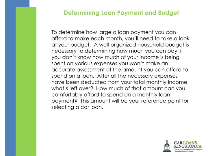 Determining Loan Payment and Budget
