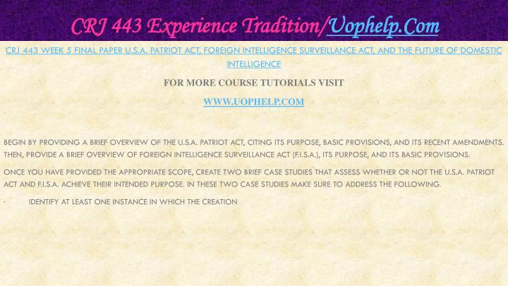 CRJ 443 Experience Tradition/