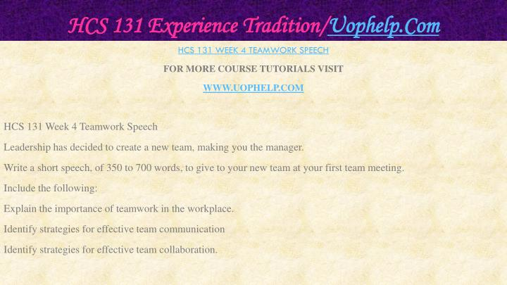 HCS 131 Experience Tradition/