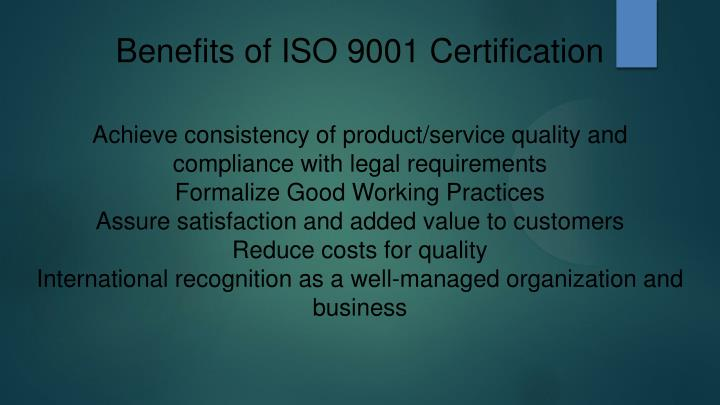 Benefits of ISO 9001 Certification
