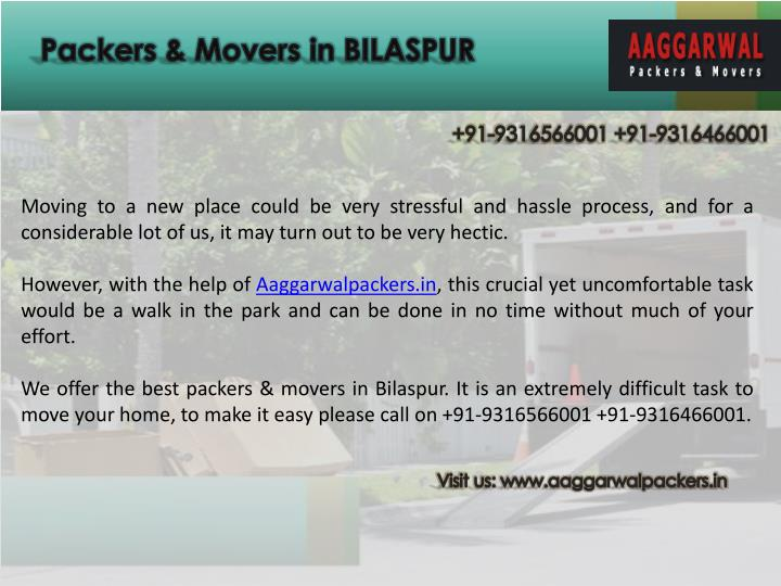 Packers & Movers in BILASPUR