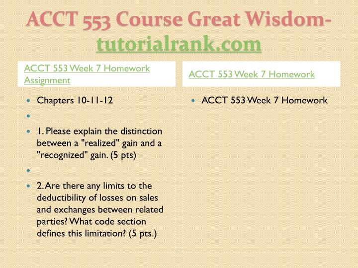 ACCT 553 Week 7 Homework Assignment