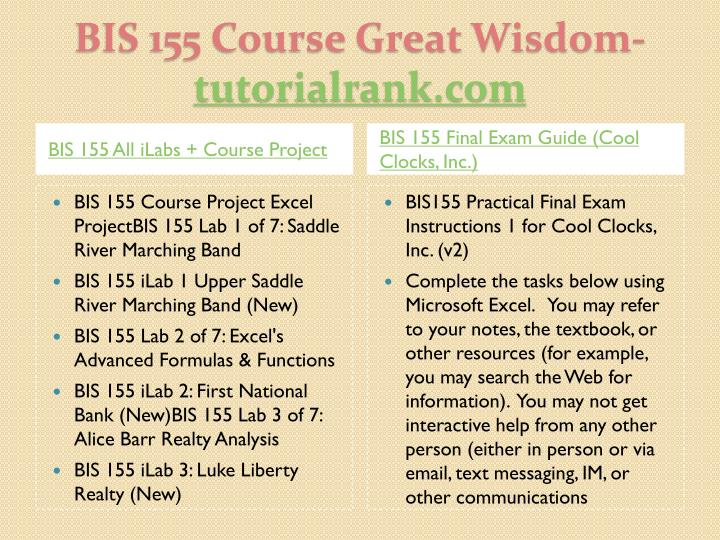 Bis 155 course great wisdom tutorialrank com1