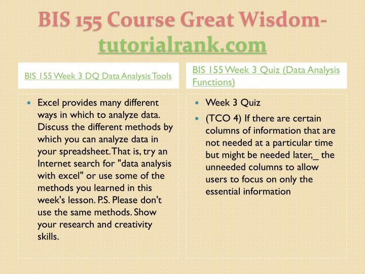 BIS 155 Week 3 DQ Data Analysis Tools